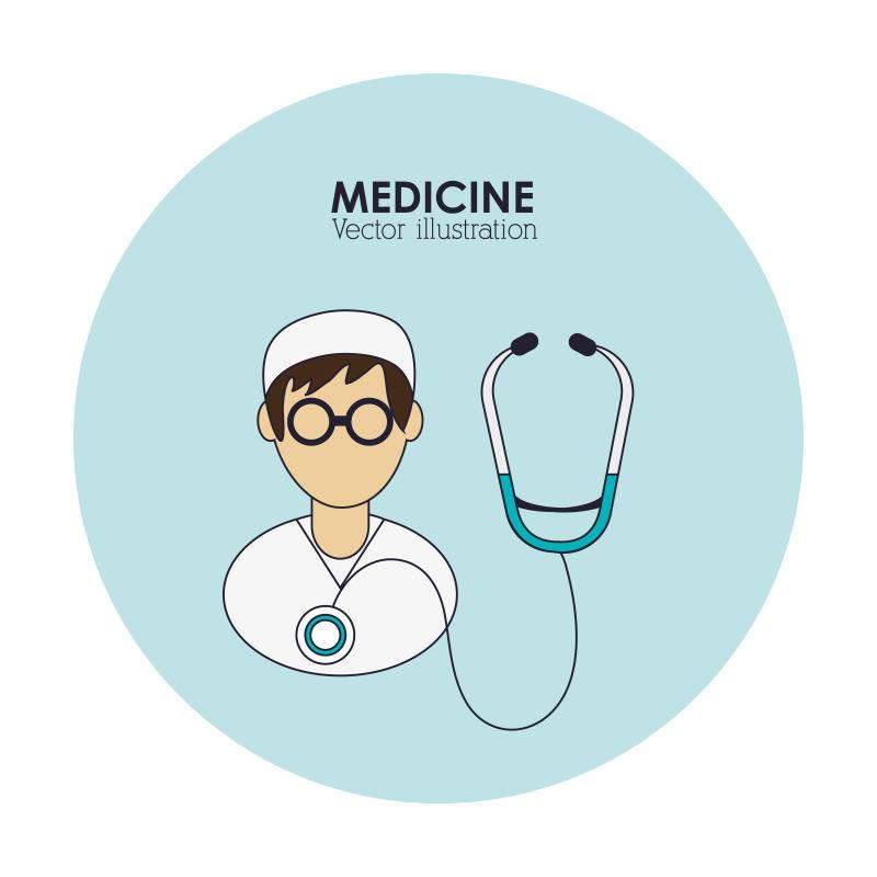 给病人听诊概念的矢量医院标志设计