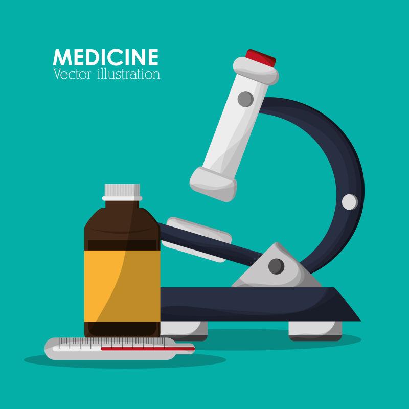显微镜图案的矢量医疗保健图标