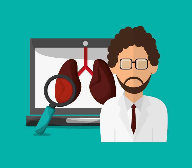 戴眼镜的男医生图案矢量标志设计
