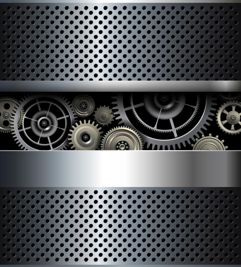 金属齿轮背景的银色背景矢量设计