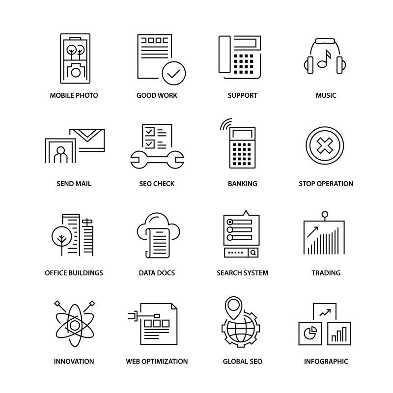 创意矢量网络界面创意瘦线图标设计