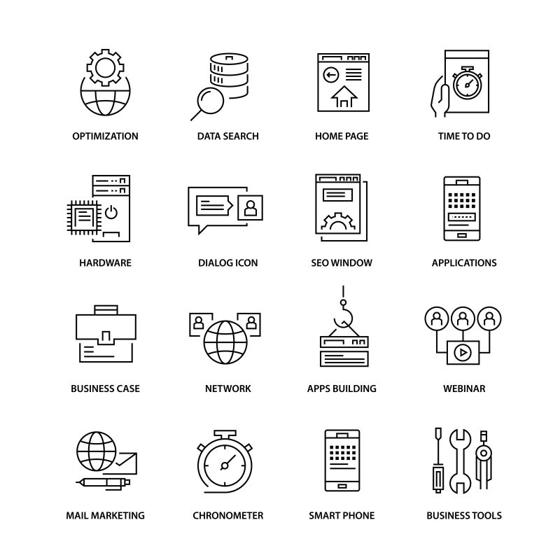 现代商业矢量瘦线图标设计