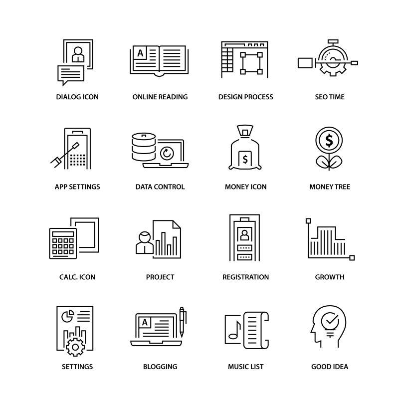 矢量金融概念的现代图标设计