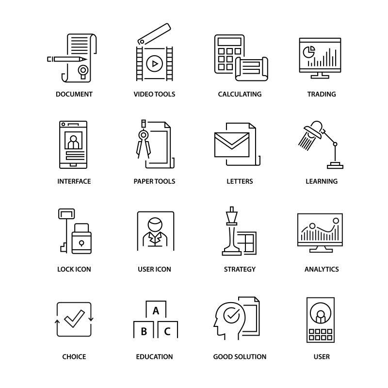 矢量现代用户概念的瘦线标志设计