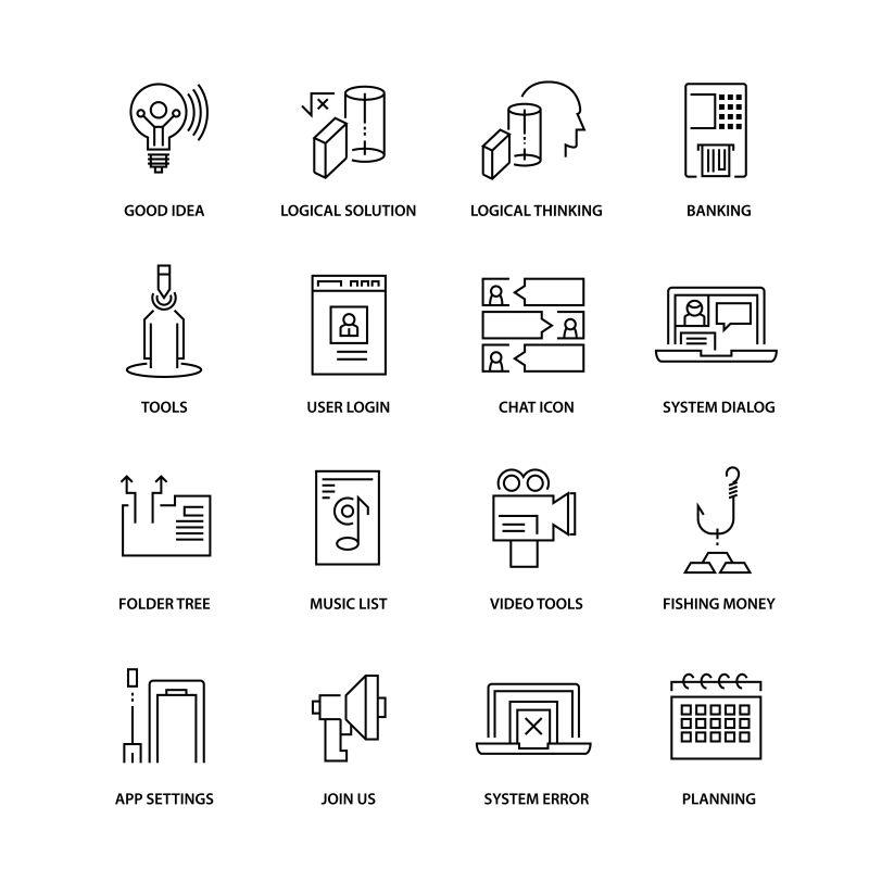创意矢量现代生活主题图标设计
