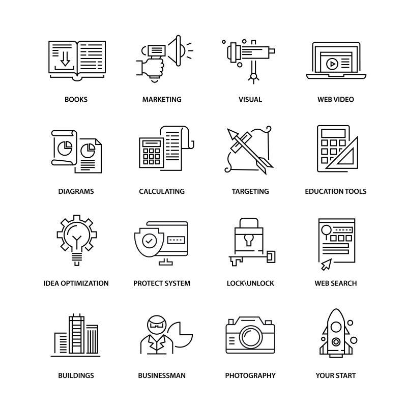 创意现代商业矢量瘦线图标