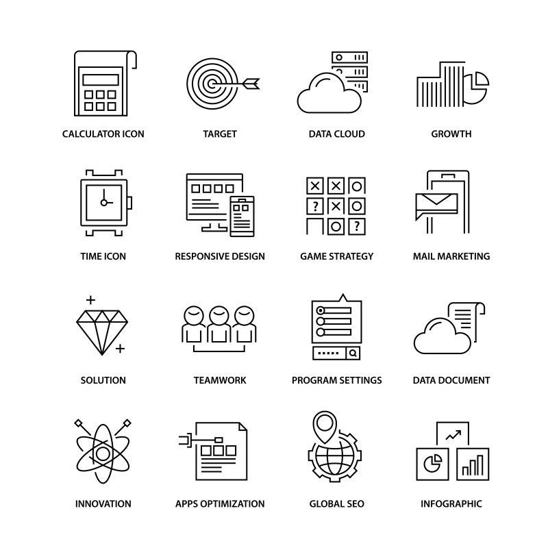 创意矢量瘦线风格的商用图标设计