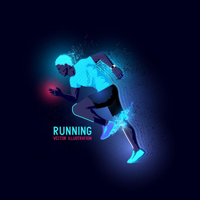 矢量跑步运动剪影