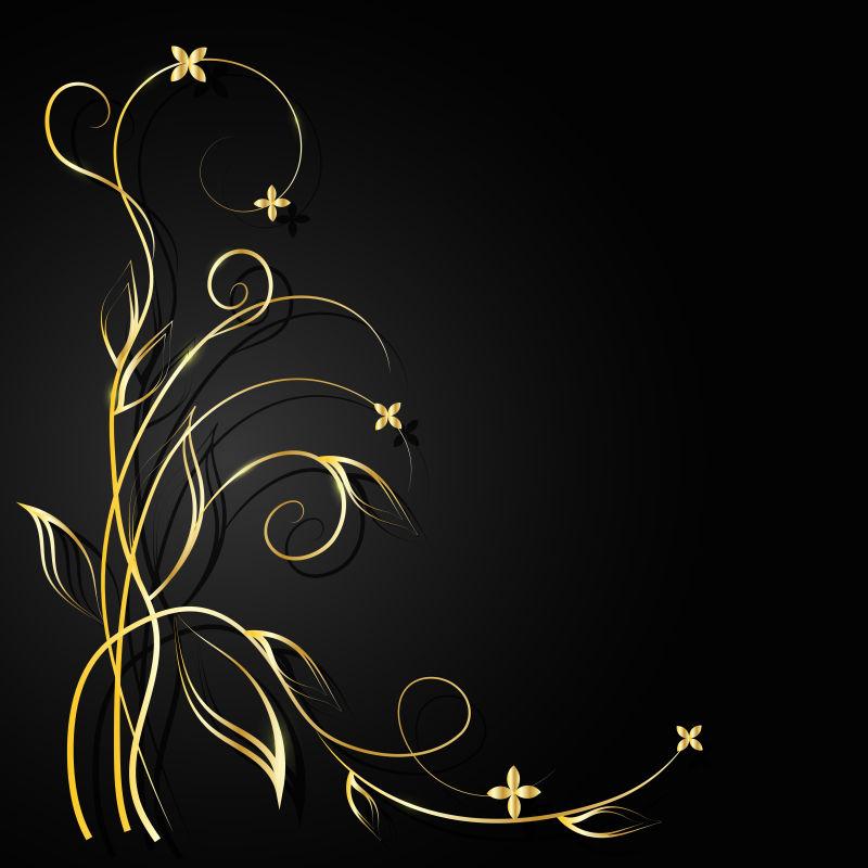 矢量的金色植物图案背景