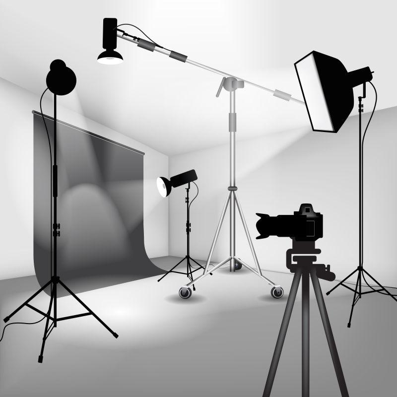 摄影棚设置灯和相机矢量插图