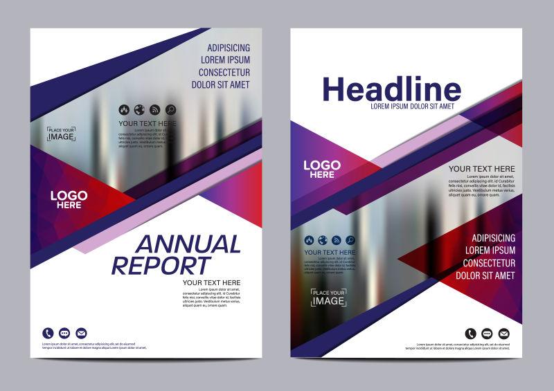 创意矢量紫色几何元素的单页版式设计