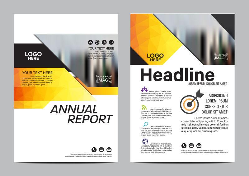 创意矢量黄色多边形风格的封面版式设计