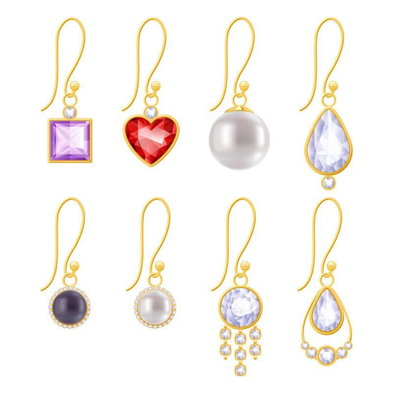 镶有宝石和珍珠的各式金耳环