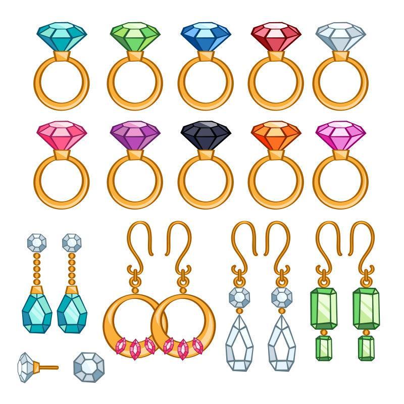 五颜六色的宝石矢量饰品设计