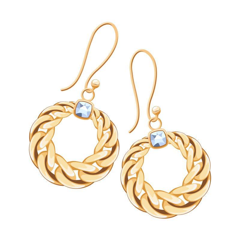 镶有金链的耳环珠宝矢量插图