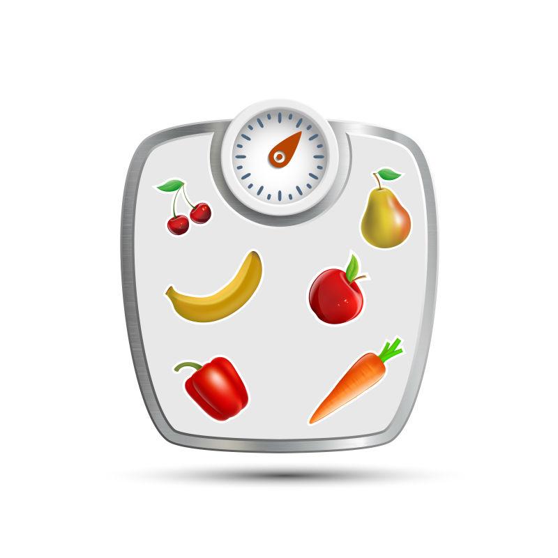 水果和蔬菜称量秤矢量插图