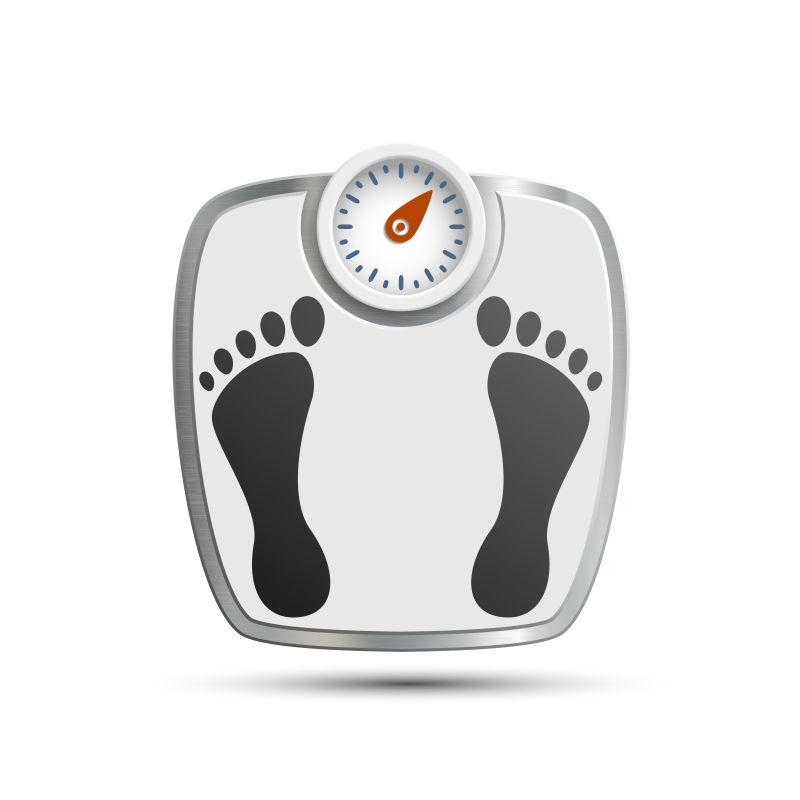 脚印图案的体重秤矢量插图
