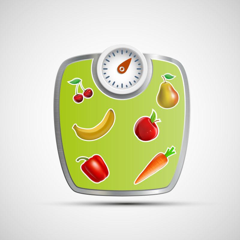 矢量的蔬果图案体重秤