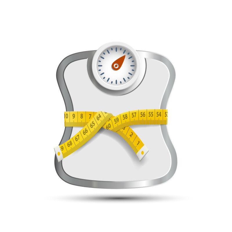 被测量尺缠起来的体重秤矢量插图