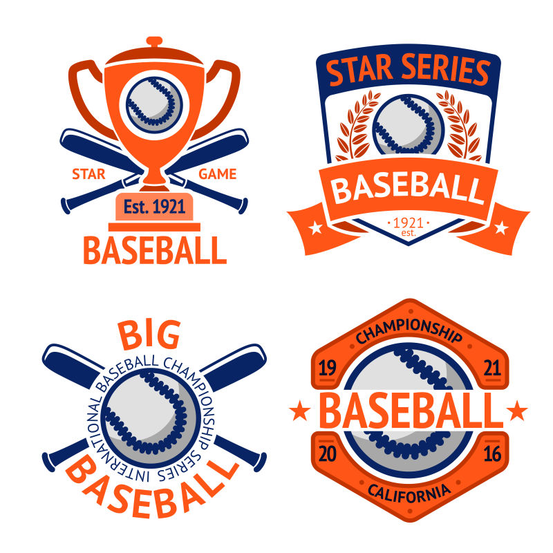 矢量的棒球运动标签设计