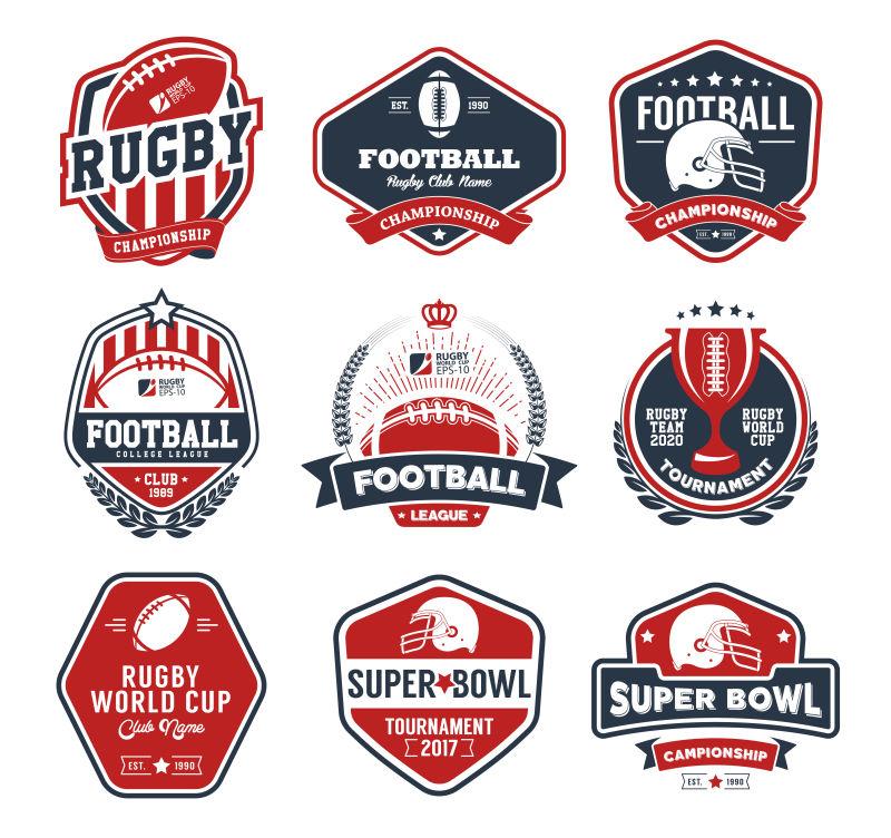 矢量的橄榄球运动标签