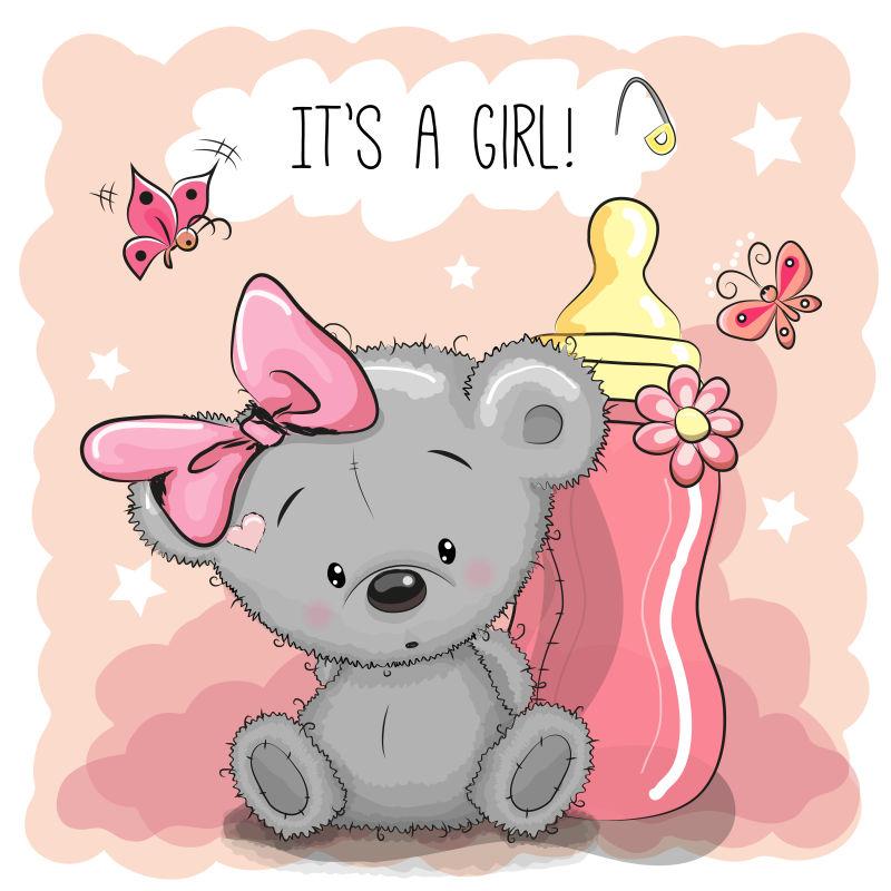 矢量可爱的卡通泰迪熊女孩和奶瓶