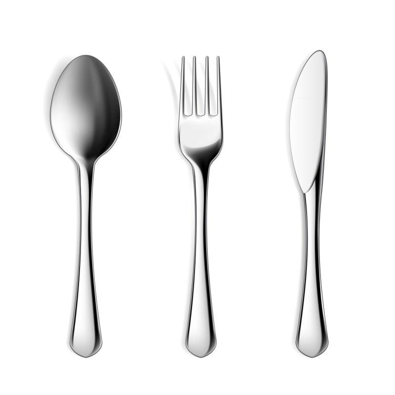 白色背景上矢量餐具