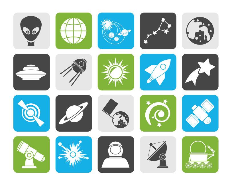 创意矢量天文宇航员相关图标设计