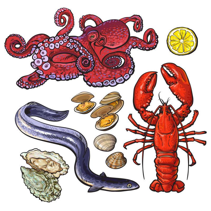 海鲜食物矢量插图