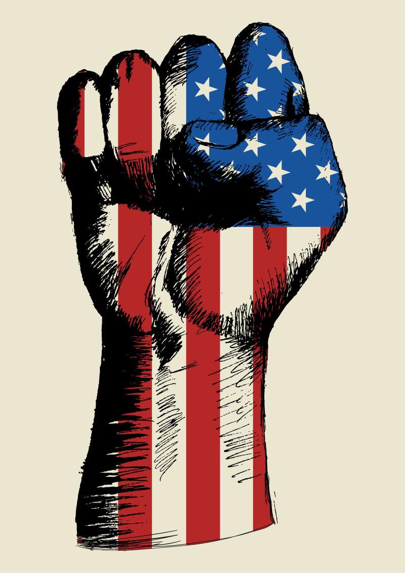美国国旗与拳头