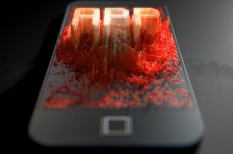 黑色背景智能手机