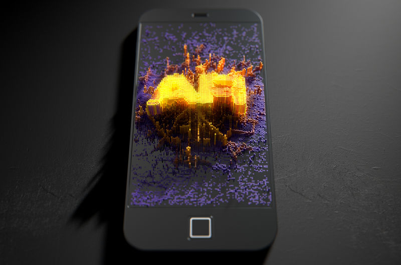 黑色背景前的手机上的比特币封面
