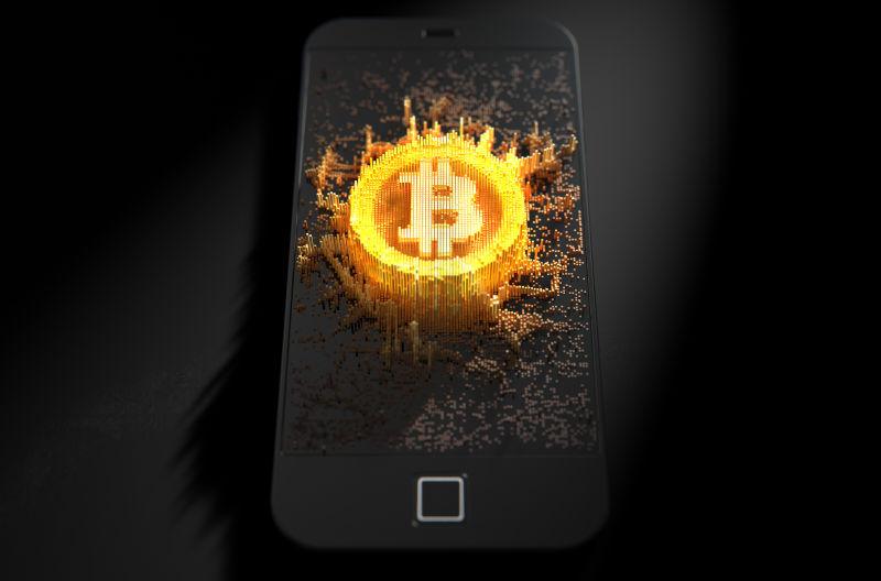 黑色背景前手机上比特币的概念