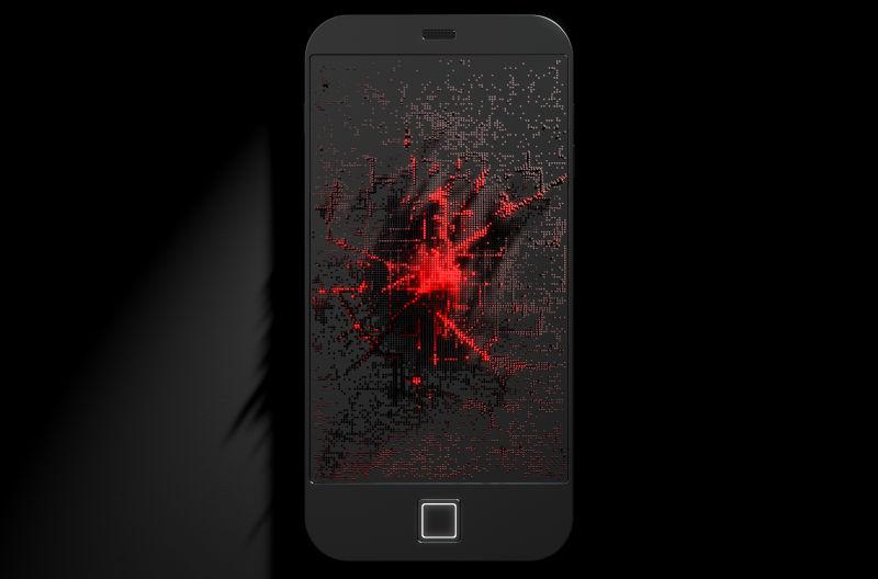 黑色背景前的电话屏幕