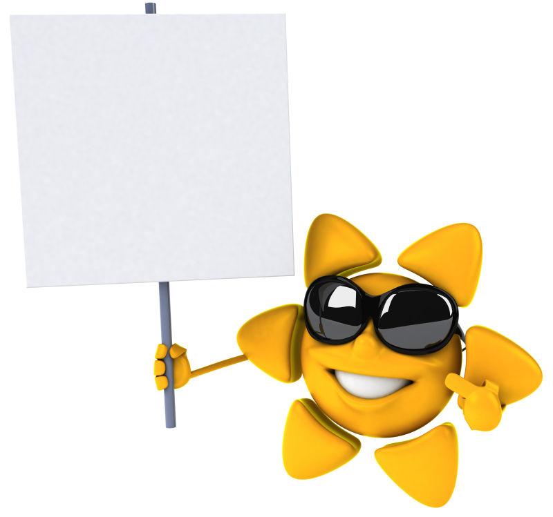 戴墨镜的太阳举着白板