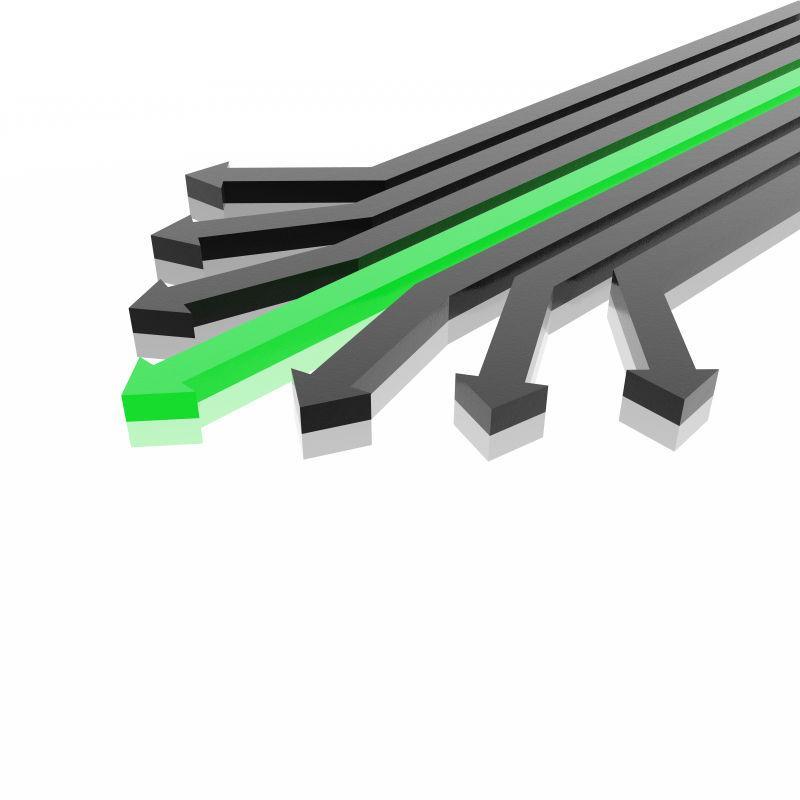 白色背景上的黑色和绿色箭头背景
