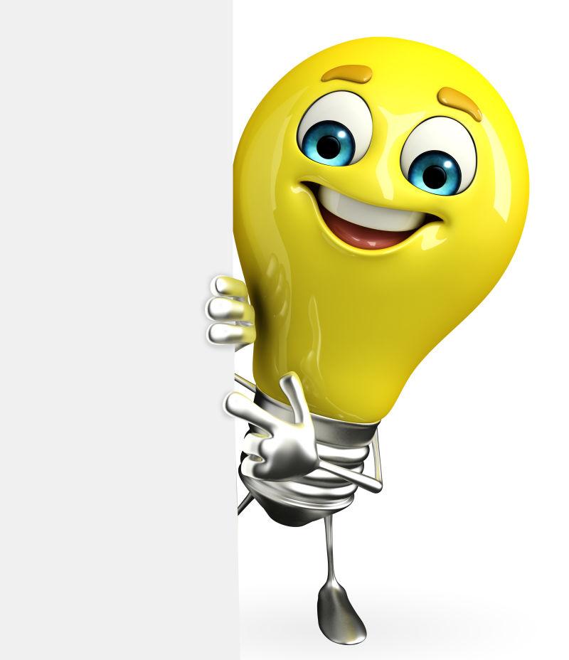 卡通版可爱的黄色灯泡