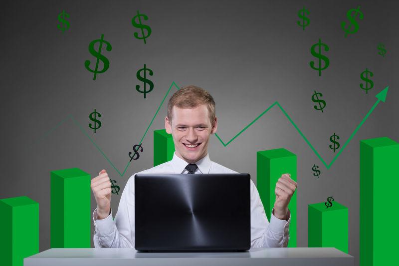 商人因为股票上涨而非常快乐