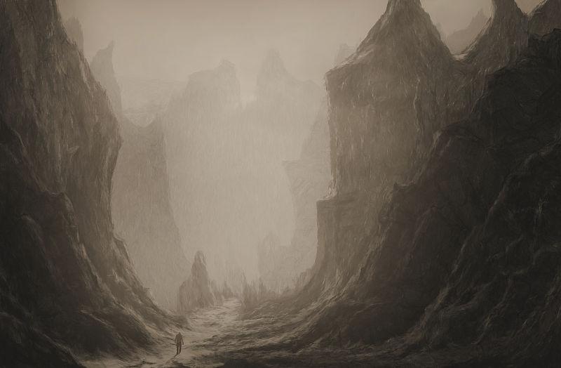 走在险峻山谷的人