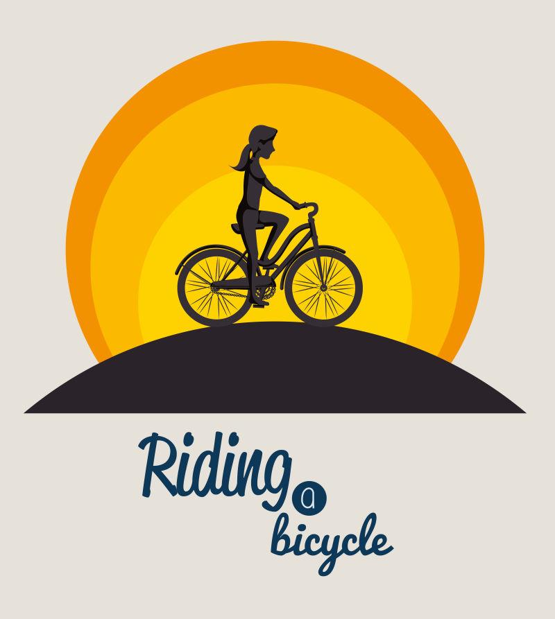 创意矢量骑自行车的女人插图