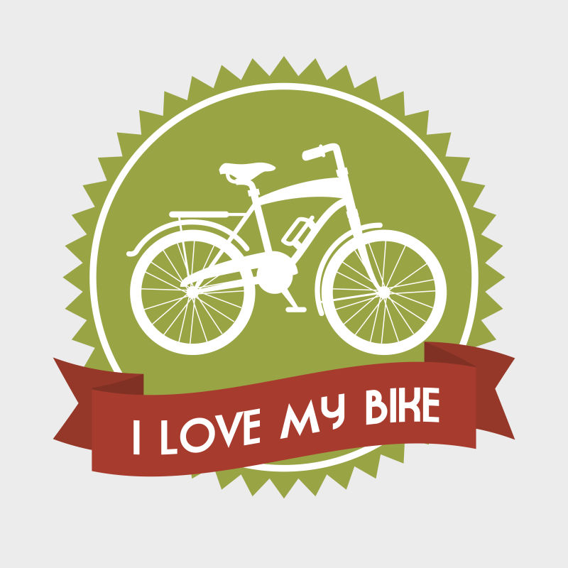 矢量抽象绿色健康自行车插图