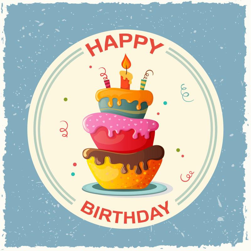 2周年生日蛋糕_矢量生日蛋糕图片-创意矢量卡通生日蛋糕平面插图素材-高清图片 ...