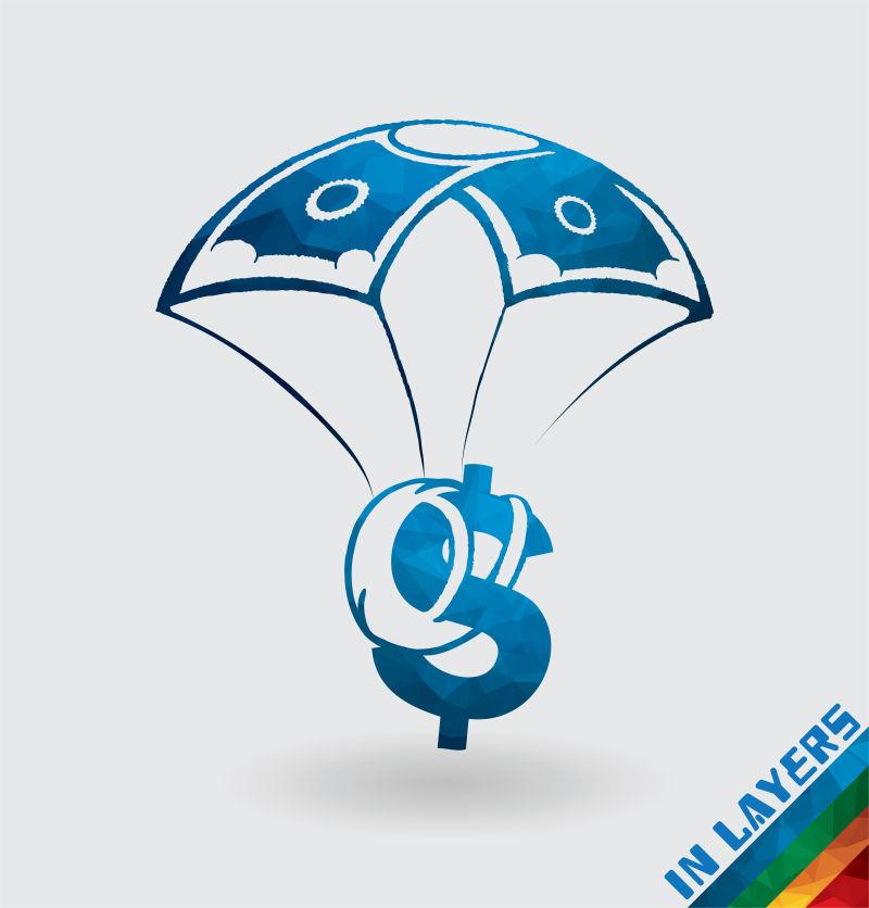 矢量背降落伞的美元图标设计