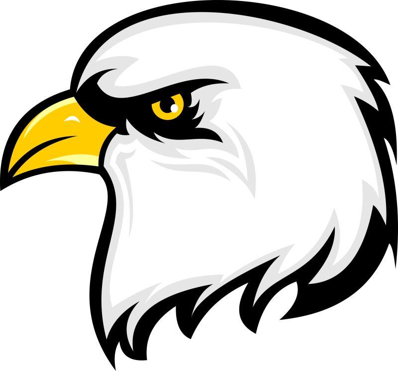 抽象矢量卡通老鹰的标志插图