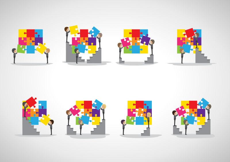 矢量彩色商业拼图