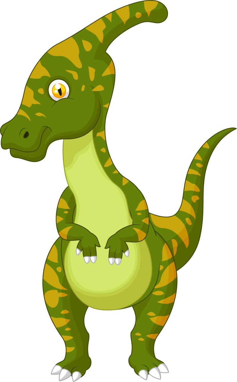 绿色可爱的卡通恐龙插图