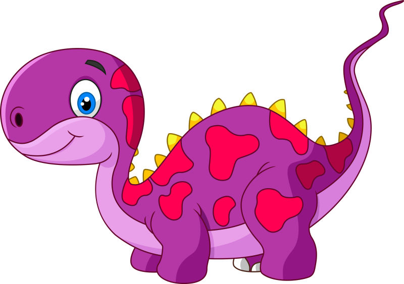 创意矢量可爱的紫色食草恐龙插图