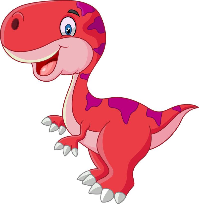 矢量快乐的粉色恐龙插图