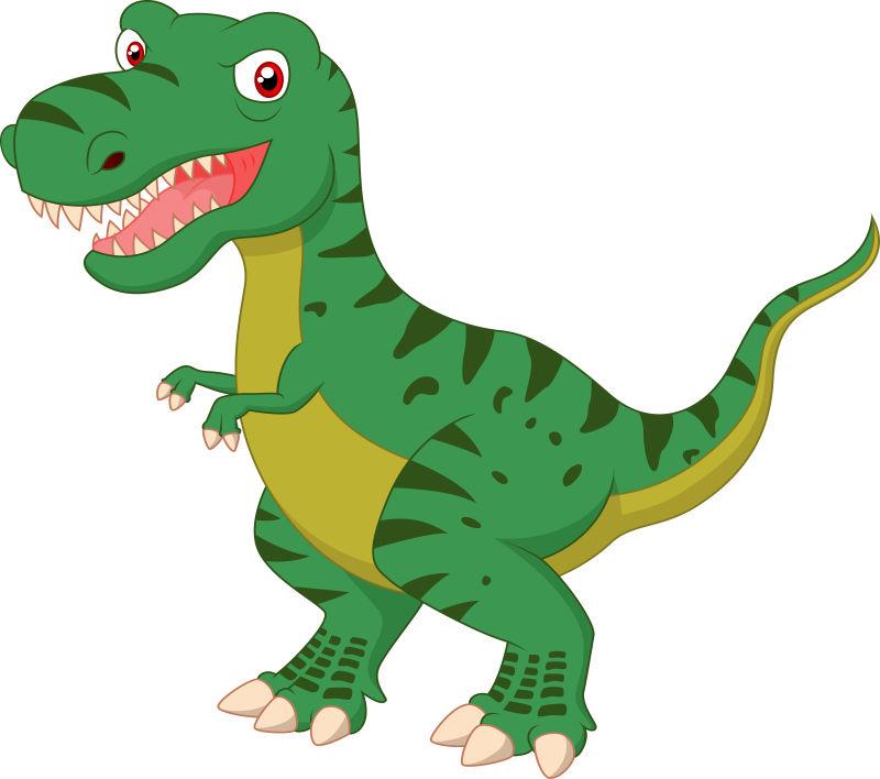 矢量绿色霸王龙插图设计
