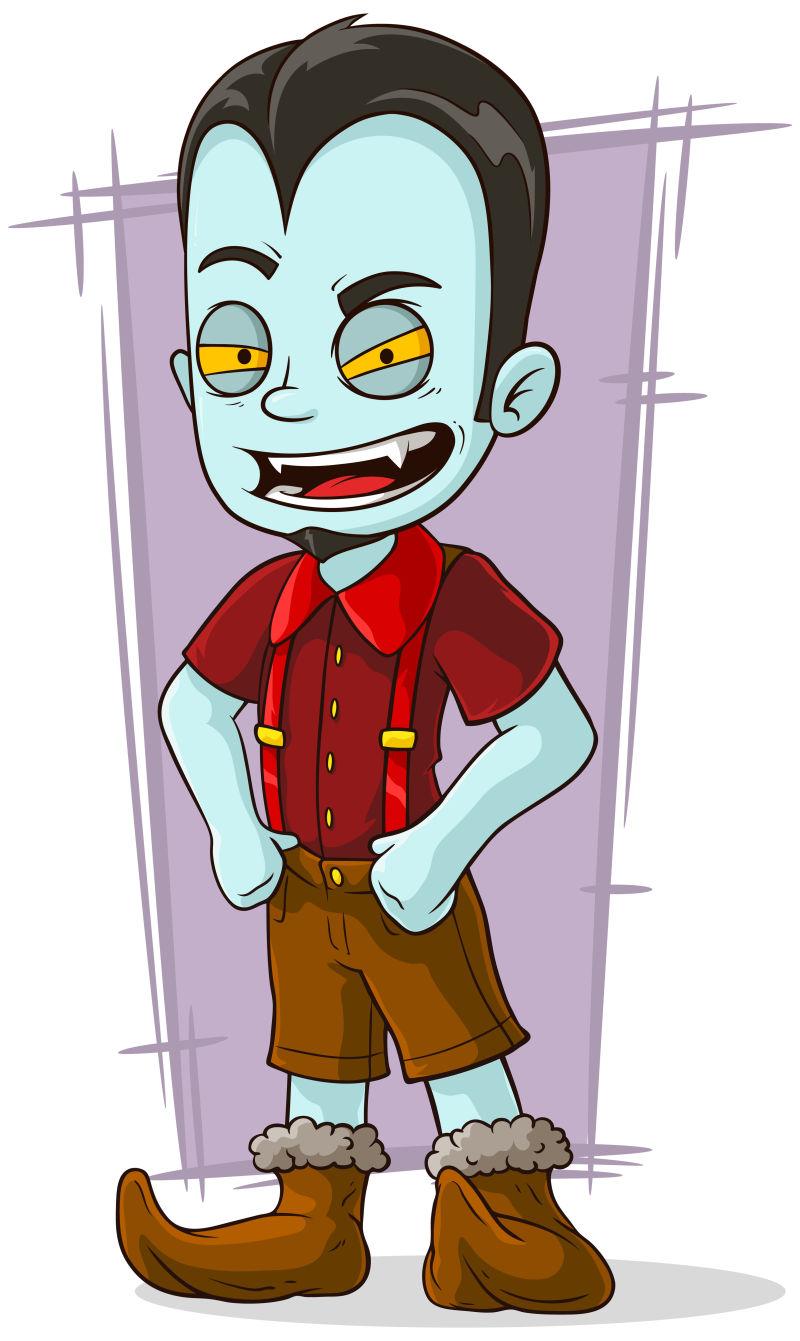 蓝皮肤的卡通吸血鬼矢量插图